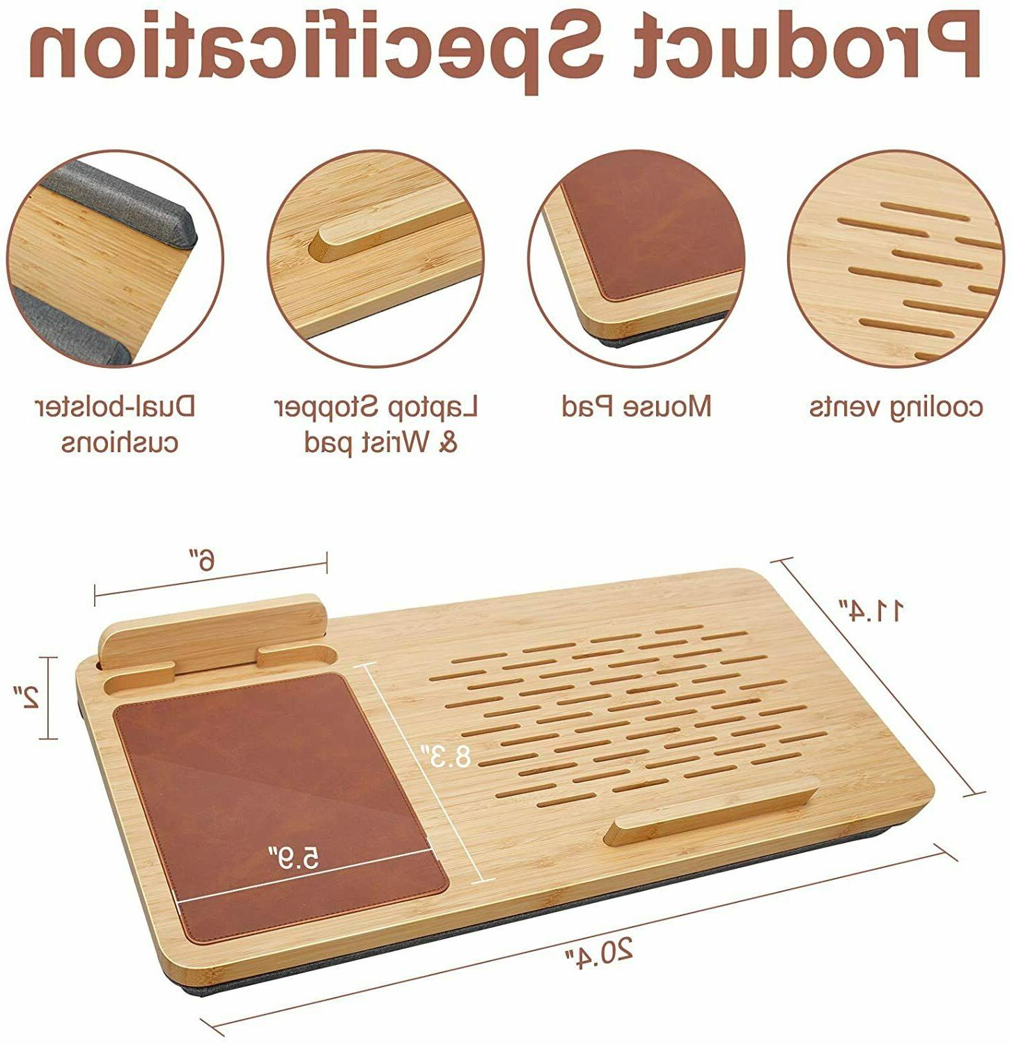 Laptop Desk Wooden with Pad - Fits up 15 inches Holder A