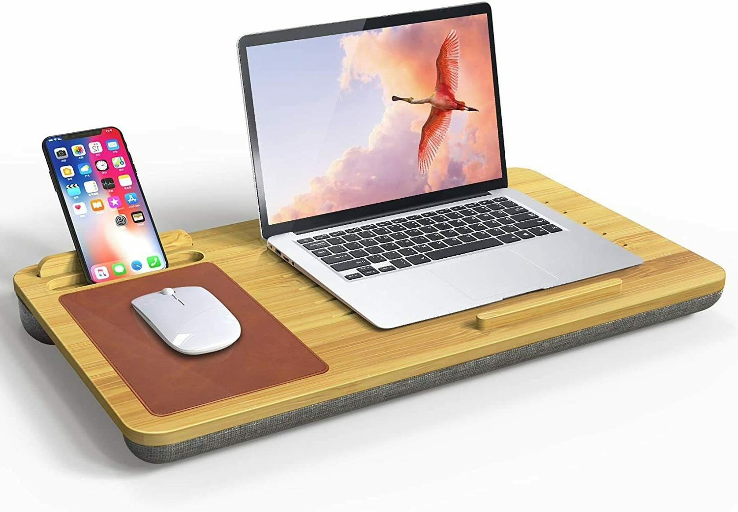 laptop desk stand wooden with mouse pad