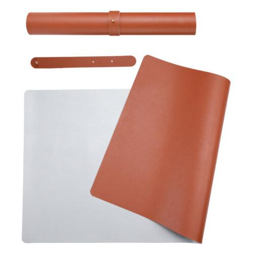 Dual Sided Brown PU Leather Desk Pad Mat Desk Blotter Protec