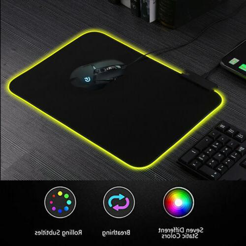 Large RGB Colorful LED Lighting Gaming Mouse Pad Mat for PC
