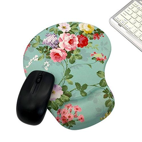Memory Foam Mousepad Wrist Support, Flower Design Ergonomic Mouse Pad Super Non-Slip