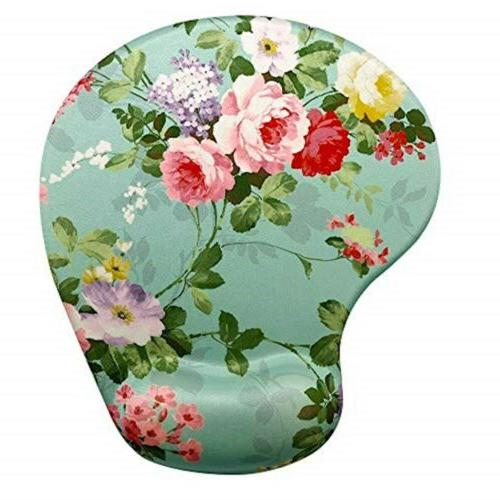 Apottwal Memory Foam Mousepad with Wrist Support, Floral Gor