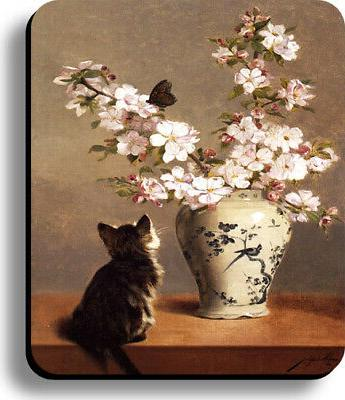 mouse pad painting cat butterfly on flower