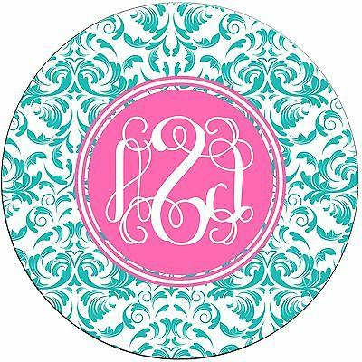 Pretty Monogrammed Round Mouse Pad - Damask Teal Pink Person