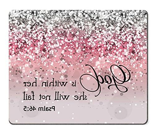 Bible Verse Pink Sparkles Glitter Pattern Mouse pad Mousepads Smooffly Psalm 46:5 God is Within Her,She Will not Fall