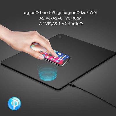 For iPhone8/8Plus/X Samsung 2 in 1 Wireless Charger Mousepad