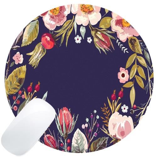 Wknoon Retro Floral Flowers Art Navy Blue Round Mouse Pad Cu