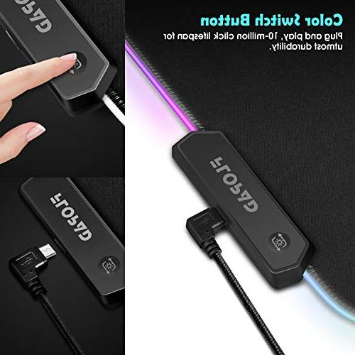 LED Gaming Pad 10 Modes Mat Edges and Non-Slip Base, High-Performance Pad 31.5X