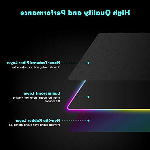 LED Gaming Mouse Pad 10 Light Modes Extended Mat Durable Stitched Edges Non-Slip Base, High-Performance Pad for Gamer 31.5X 11.8in