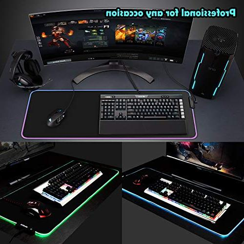 LED RGB Gaming Mouse Modes Mat Edges Rubber Base, High-Performance Pad Optimized 31.5X 11.8in