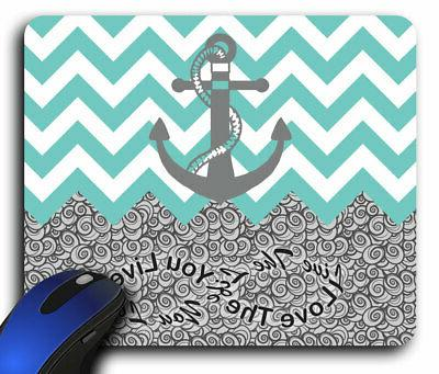 Teal/White Anchor Chevron Rectangle Mouse Pad