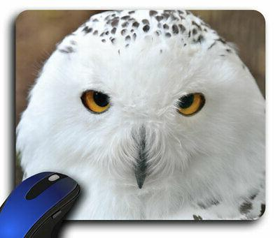 White Owl Rectangle Mouse Pad