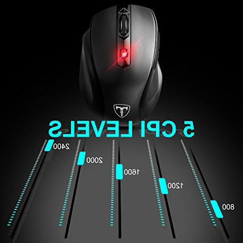 VicTsing Wireless with Mouse Pad, Mobile Mouse Adjustable Levels, 6 Buttons Ergonomic Pad PC, Laptop-Black