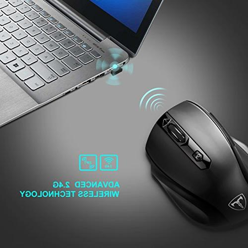 VicTsing Wireless Mouse Pad, Mobile USB 5 Adjustable Buttons and Ergonomic Pad for Notebook, PC,
