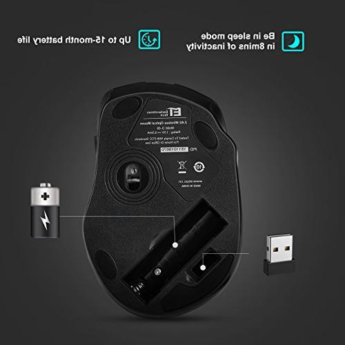 VicTsing Mouse Mobile Optical USB Receiver, 5 Adjustable DPI Levels, 6 Buttons and Pad PC,