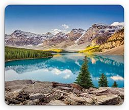 Ambesonne Landscape Mouse Pad, Idyllic View of Moraine Lake