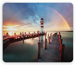 Ambesonne Lighthouse Mouse Pad, Sunset at Seaside Wooden Doc