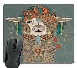 Wknoon Llama Mouse Pad, Colorful Headwear Wearing Llama with