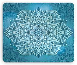 Mandala Mouse Pad by Lunarable, Oriental Style Lotus Flower