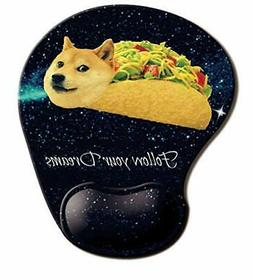 Memory Foam Mousepad with Wrist Support, Doge in Taco Galaxy