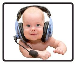 Mouse Mat Newborn Babies With Headphones Pattern Mouse Pad 1