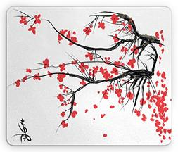 Ambesonne Nature Mouse Pad, Sakura Blossom Japanese Cherry T