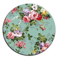 Mouse Pad Beautiful Flowers Floral Vintage Circle Laptop Not