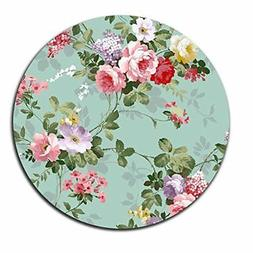 Mouse Pad Beautiful Flowers Flora Vintage Circle Laptop Note