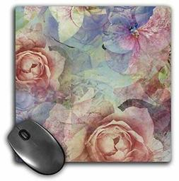 3dRose Mouse Pad Pretty Pink and Floral Collage, 8 x 8""