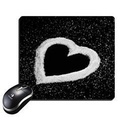 Mouse Pad Rectangular White and Black Heart - Love - Design
