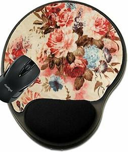 MSD Mouse Pad with Wrist Rest Support Vintage red Floral Fab