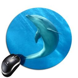 Mousepad Grey Dolphin in Sea Round Mouse Pad