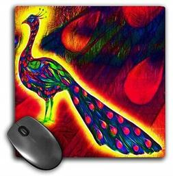 3dRose mp_116500_1 LLC 8x8x.25 Inches Mouse Pad Peacock Peaf