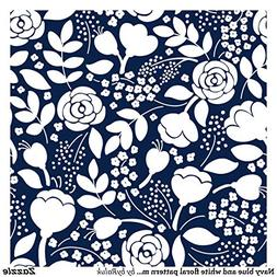 Navy Blue and White Floral Pattern Mouse pad 9.8×8.3 inches