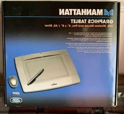 """NEW Manhattan Graphics Tablet USB, Wireless Mouse and Pen 6"""""""