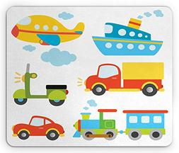 Ambesonne Nursery Mouse Pad, Abstract Transportation Types f