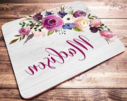 Personalized Floral Name Mouse Pad Pink Purple Watercolor Fl