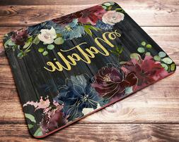 Personalized Name Mouse Pad Burgundy Floral Mousepad Womens