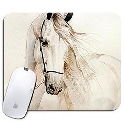 Personalized Rectangle Mouse Pad, Printed White Horse Patter