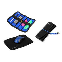 Portable PU Leather Travel Mouse Pad Organizer 2 in 1 Combo