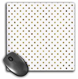 "3dRose Print of Gold Bling Polka Dots Mouse Pad, 8"" x 8"""