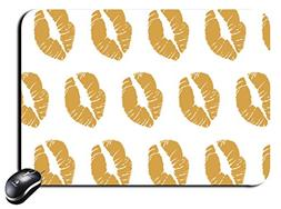Rectangular Mouse Pad gold color Kissing Mousepad