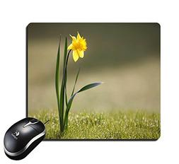 Rectangular Mouse Pad Single Yellow Color Flower Mousepad