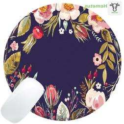 retro floral flowers art navy blue round