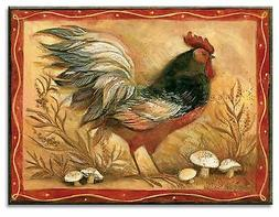 ROOSTER AND MUSHROOMS  MOUSE PAD  IMAGE FABRIC TOP RUBBER BA