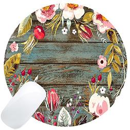 Wknoon Round Mouse Pad Custom, Vintage Hand Drawn Floral Wre