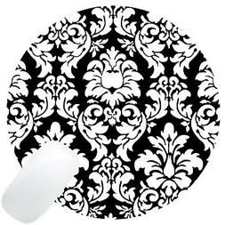 Wknoon Round Mouse Pad Customized Design, Abstract Damask Bl