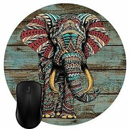 Wknoon Round Mouse Pad Customized Design, Vintage Colorful I
