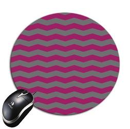 Round Mouse Pad Mousepad Waves Design Raspberry and Grey