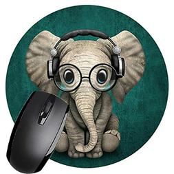 Round Mouse Pad with Elephant Design Non-Slip Rubber Mousepa